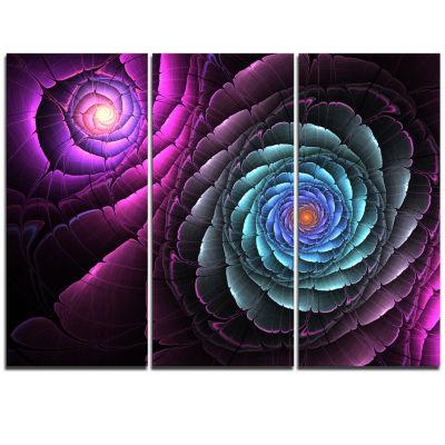Designart Fractal Blue Purple Flower Digital Art Floral Triptych Canvas Art Print