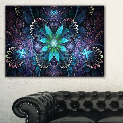 Designart Fractal Flower Blue Digital Art Large Flower Canvas Wall Art