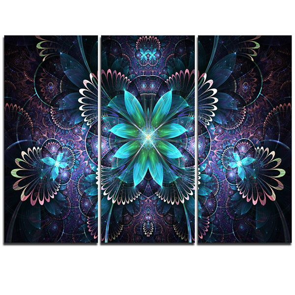 Designart Fractal Flower Blue Digital Art Large Flower Triptych Canvas Wall Art