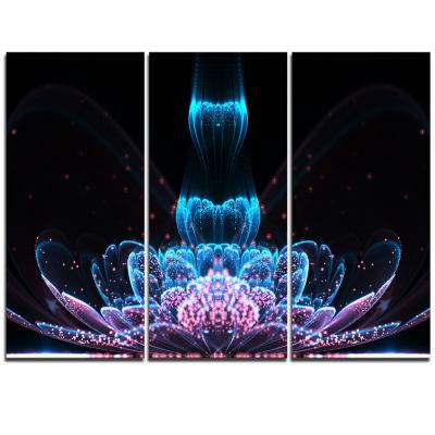 Designart Fractal Flower Blue Purple Digital Art Floral Triptych Canvas Art Print