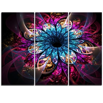 Designart Fractal Flower Blue Red Digital Art Large Flower Triptych Canvas Wall Art