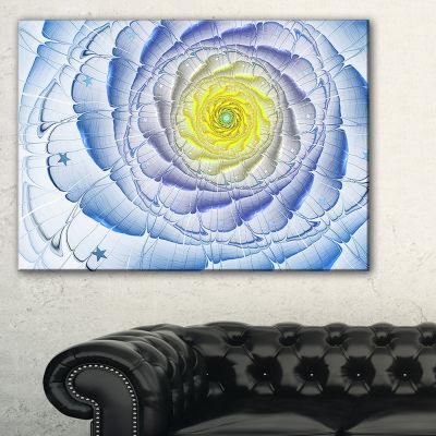 Designart Fractal Flower Blue Yellow Digital ArtLarge Flower Canvas Wall Art