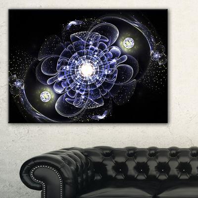 Designart Fractal Flower Bright Blue Digital Art Floral Canvas Art Print