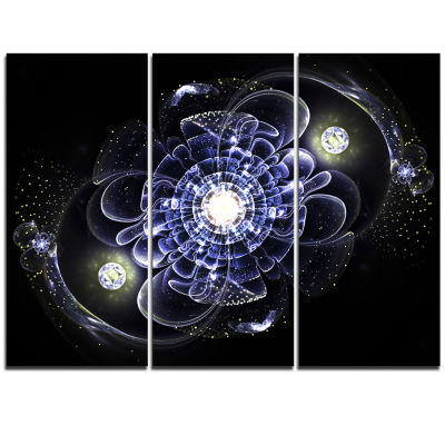 Designart Fractal Flower Bright Blue Digital Art Floral Triptych Canvas Art Print