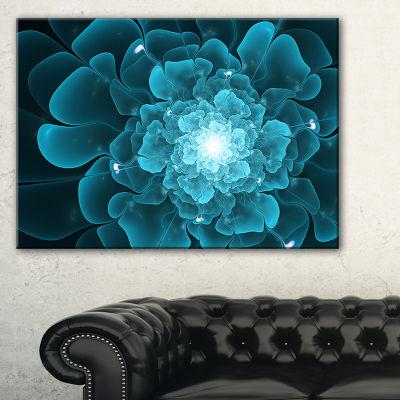 Designart Fractal Flower Clear Blue Digital Art Floral Canvas Art Print