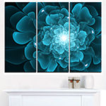 Designart Fractal Flower Clear Blue Digital Art Floral Triptych Canvas Art Print