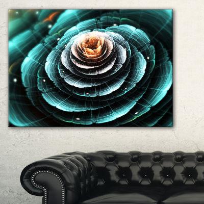 Designart Fractal Flower Clear Turquoise DigitalArt Floral Canvas Art Print