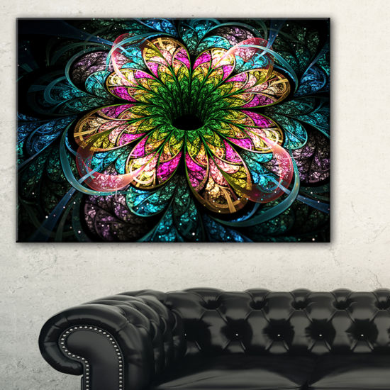 Designart Fractal Flower Dark Colorful Digital ArtFloral Canvas Art Print