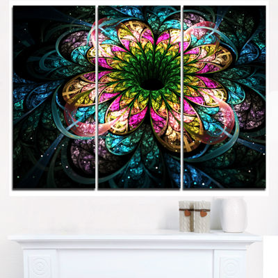 Designart Fractal Flower Dark Colorful Digital ArtFloral Triptych Canvas Art Print