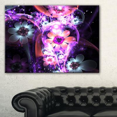 Designart Fractal Flower Dark Purple Digital ArtLarge Flower Canvas Wall Art