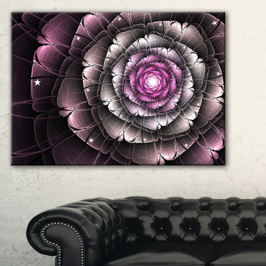 Designart Fractal Flower Glossy Pink Digital Art Floral Canvas Art Print