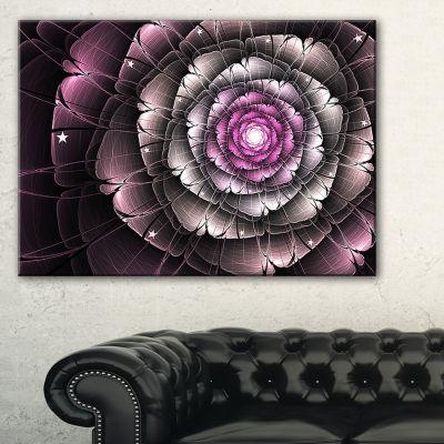 Designart Fractal Flower Glossy Pink Digital Art Floral Canvas Art Print