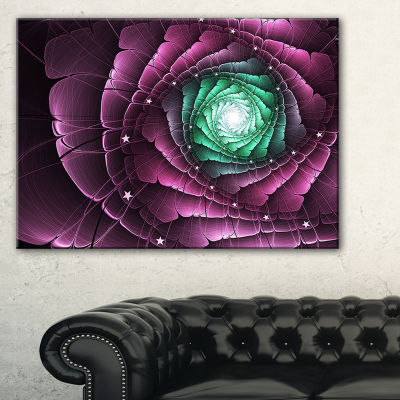 Designart Fractal Flower Green Purple Digital ArtFloral Canvas Art Print