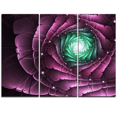 Designart Fractal Flower Green Purple Digital ArtFloral Triptych Canvas Art Print