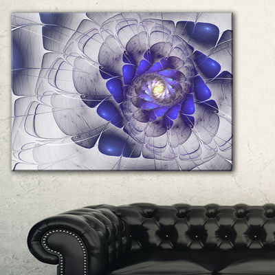 Designart Fractal Flower Grey Blue Digital Art Floral Canvas Art Print