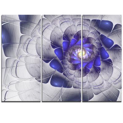 Designart Fractal Flower Grey Blue Digital Art Floral Triptych Canvas Art Print