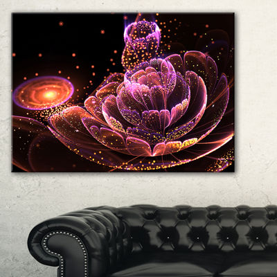 Designart Fractal Flower Illuminated Purple Art Floral Canvas Art Print