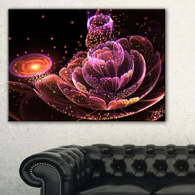 Designart Fractal Flower Illuminated Purple Art Floral Canvas Art Print