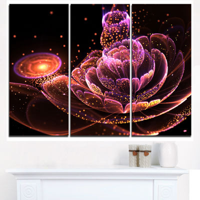 Designart Fractal Flower Illuminated Purple Art Floral Triptych Canvas Art Print