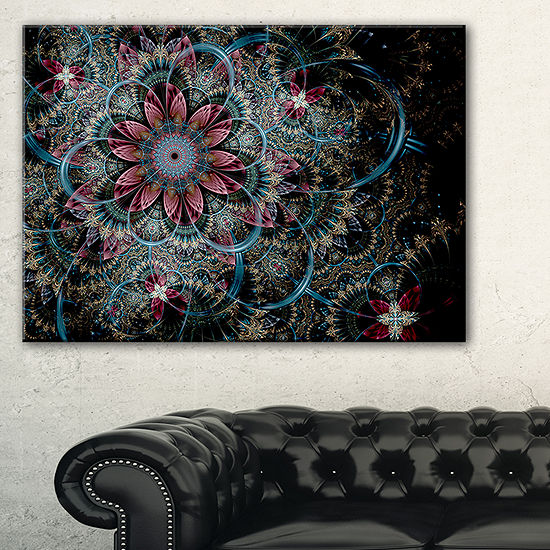 Designart Fractal Flower In Dark Blue Digital ArtFloral Canvas Art Print