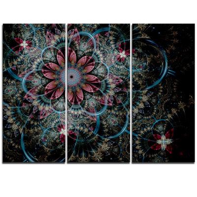 Designart Fractal Flower In Dark Blue Digital ArtFloral Triptych Canvas Art Print