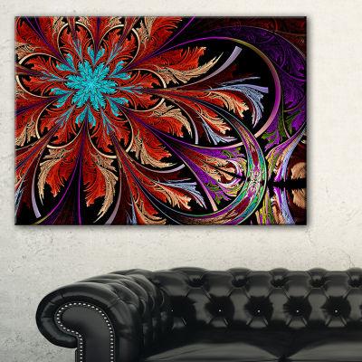 Designart Fractal Flower In Dark Red Digital Art Floral Canvas Art Print