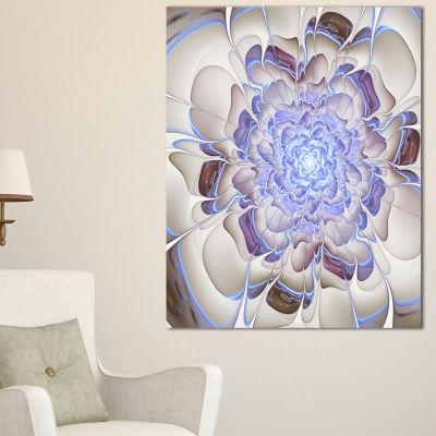 Designart Fractal Flower In Light Blue Digital ArtFloral Canvas Art Print