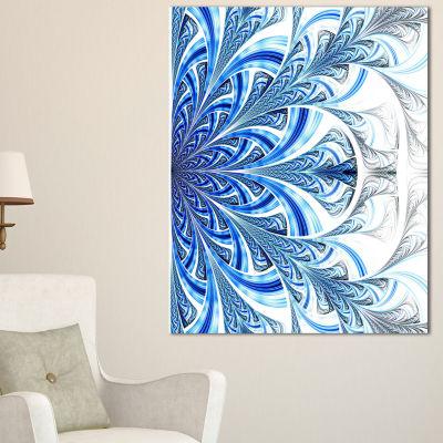 Designart Fractal Flower In Soft Blue Digital ArtFloral Canvas Art Print