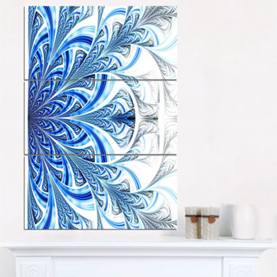 Designart Fractal Flower In Soft Blue Digital ArtFloral Triptych Canvas Art Print