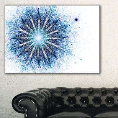 Designart Fractal Flower Light Blue Digital Art Large Flower Canvas Wall Art