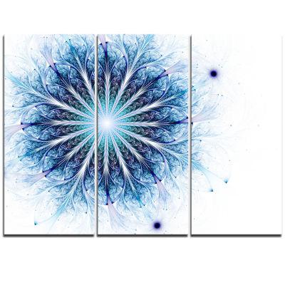 Designart Fractal Flower Light Blue Digital Art Large Flower Triptych Canvas Wall Art