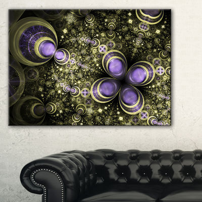 Designart Fractal Flower Light Brown Digital ArtLarge Flower Canvas Wall Art