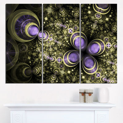 Designart Fractal Flower Light Brown Digital ArtLarge Flower Triptych Canvas Wall Art