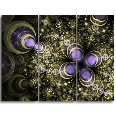 Designart Fractal Flower Light Brown Digital ArtLarge Flower Triptych Canvas Wall Art