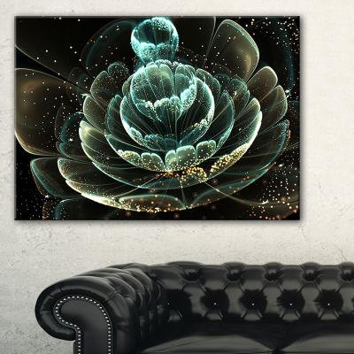 Designart Fractal Flower Light Green Digital Art Floral Canvas Art Print