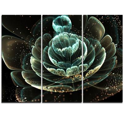 Designart Fractal Flower Light Green Digital Art Floral Triptych Canvas Art Print