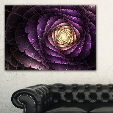 Designart Fractal Flower Light Purple Digital ArtFlower Canvas Wall Art