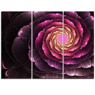 Designart Fractal Flower Light Purple Digital ArtLarge Flower Triptych Canvas Wall Art
