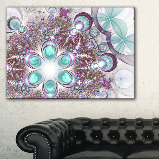 Designart Fractal Flower Of Blue Digital Art LargeFlower Canvas Wall Art