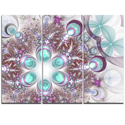 Designart Fractal Flower Of Blue Digital Art LargeFlower Triptych Canvas Wall Art