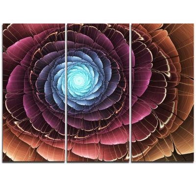 Designart Fractal Flower Pink Brown Digital Art Floral Triptych Canvas Art Print