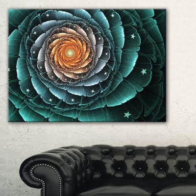 Designart Fractal Flower Turquoise Digital Art Floral Canvas Art Print