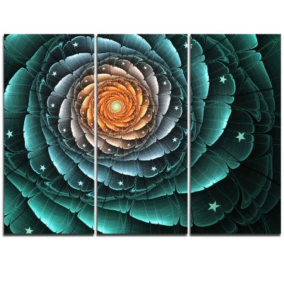 Designart Fractal Flower Turquoise Digital Art Floral Triptych Canvas Art Print