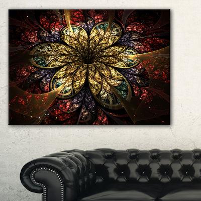 Designart Fractal Flower Yellow Red Digital Art Large Flower Canvas Wall Art