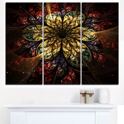 Designart Fractal Flower Yellow Red Digital Art Large Flower Triptych Canvas Wall Art