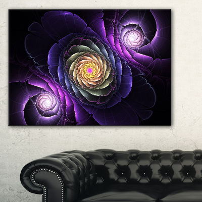 Designart Fractal Purple Flowers Digital Art LargeFlower Canvas Wall Art