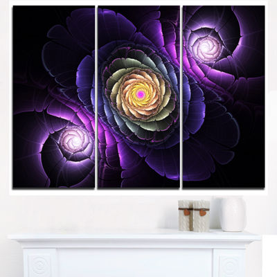 Designart Fractal Purple Flowers Digital Art LargeFlower Triptych Canvas Wall Art