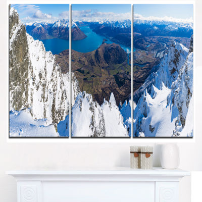 Designart Frankton And Lake Aerial View PanoramaLandscape Triptych Canvas Art Print