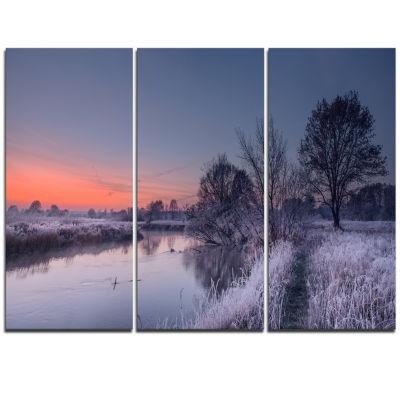 Designart Frosty Fall Morning Panorama Landscape Print Wall Artwork
