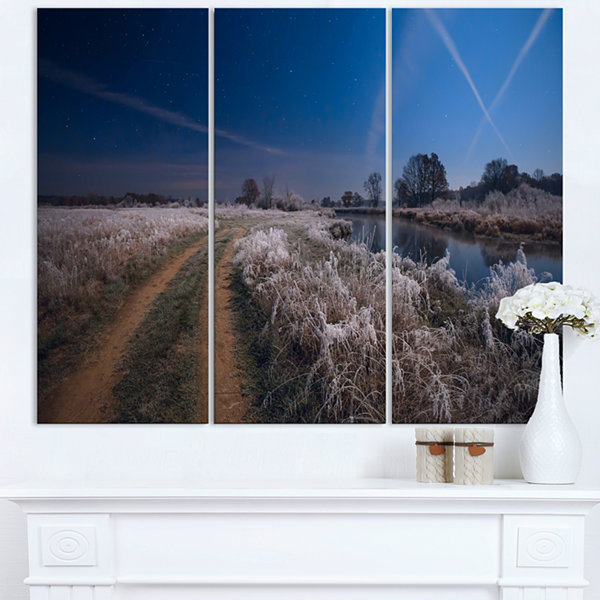 Designart Frosty Fall Night In Moonlight LandscapePrint Wall Artwork